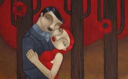 Liz-McKay-'In-love'-acrylic-on-canvas,-91-x-91cm