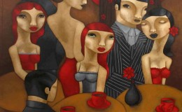 Liz-McKay-Vintage-Cafe,-acrylic-on-canvas,-,101-x-101cm