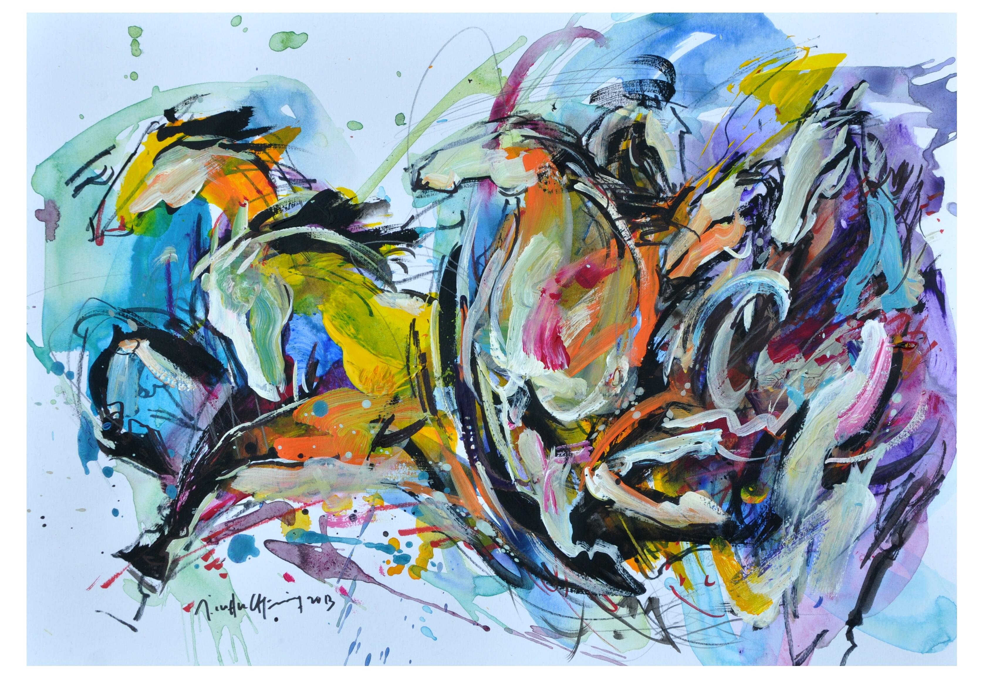 Lim Ah Cheng, Challenging Horses 2, Mixed Media On Paper, 40 X 28cm, $1,450.