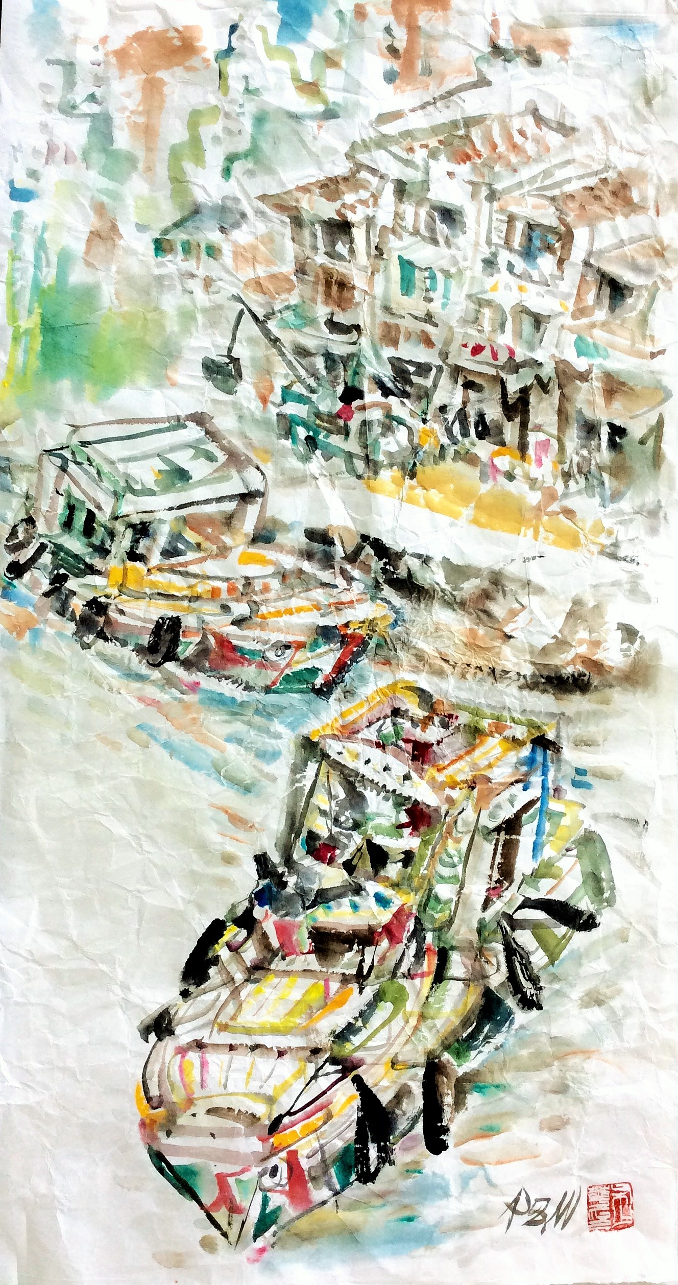Poh Siew Wah, Boat Quay Series, Ink On Rice Paper, 36.5 X 69cm, $1,350