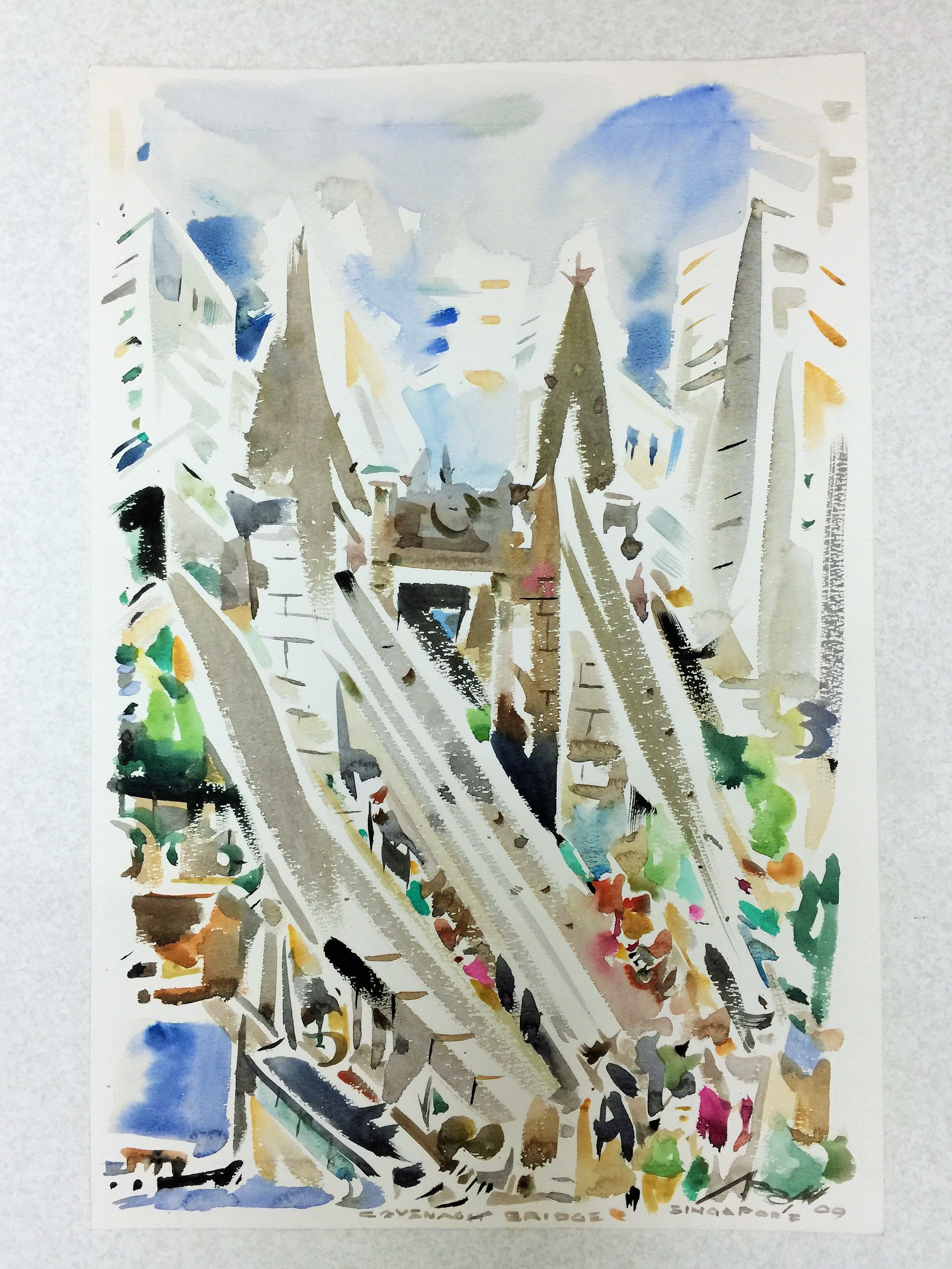 Poh Siew Wah, Cavenagh Bridge. Watercolour   Ink On Paper, 37.5 X 56.5cm, $1,850
