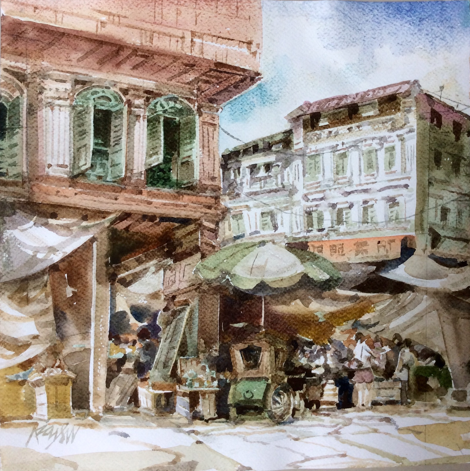 Poh Siew Wah, Chinatown, Watercolour On Paper, 32 X 32cm, $2,250