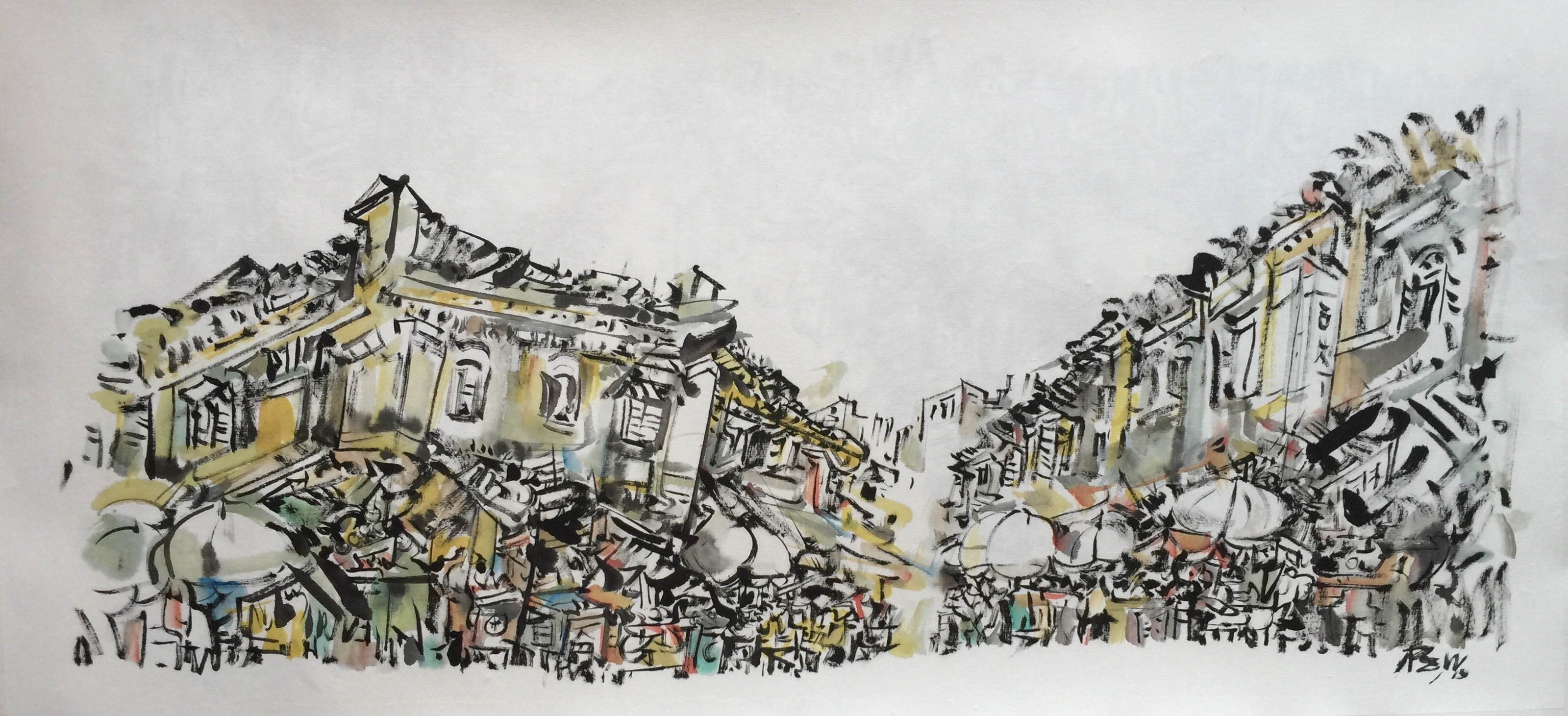 Poh Siew Wah, Telok Ayer Series, Ink On Rice Paper, 81.5 X 40.5cm, $1,950